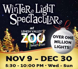 Lehigh Valley Zoo and presenting sponsor Christmas Décor are filled with excitement for the most magical time of the year as they will kick off their fifth season of Winter Light Spectacular on Friday, November 9, 2018! Bundle up and enjoy the beauty of nature as you stroll through tree-lined paths lit up by over 1.1 million twinkling lights and themed animated displays! Warm up next to the cozy outdoor fire pits, while enjoying hot cocoa and s'mores. Don't forget the camera to capture the children's delight when they encounter Santa, The Grinch, Woody, Buzz, Elsa, Princess Belle, Olaf, Minions and friends! Winter Light Spectacular runs 5:30PM - 10:00PM on Wednesday through Sunday from November 9, 2018, to December 31, 2018. The event will be on break for Thanksgiving, Christmas Eve and Christmas Day. Pricing for Winter Light Spectacular 2018: Wednesday & Thursday Adults $11 Children $6; Friday, Saturday & Sunday Adults $14 Children $9; Zoo members Adults $5 Children $4; Children under 2 are always free!