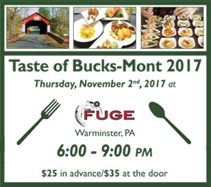A Taste of Bucks-Mont is an event that highlights the community's best food, wine, beer, and spirits while raising money for the Pennsylvania Restaurant & Lodging Association (PRLA) Educational Foundation Scholarship Fund and the American Culinary Federation (ACF) Philadelphia Chapter and Drexel School of Food and Hospitality Management. Join us for a can't miss evening that will be full of food, music, libations, tastings, raffles and a silent auction. Be the Judge of our evening's competition of The People's Choice Awards: 6 categories (Appetizer, Entrée, Dessert, Best Beer, Best Cocktail & ACF Student Winner).
