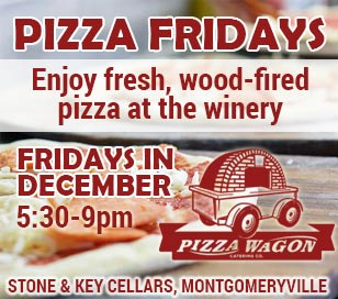 What goes better with Wine than Pizza. Now, you can find both at Stone & Key Cellars in Montgomeryville every Friday (5:30 pm - 9:00 pm) this December! This is not just any pizza, either. The Pizza Wagon will be onsite pumping out fresh baked wood fired pizzas every Friday night.